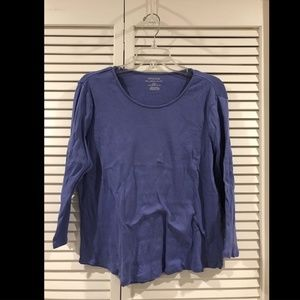 Chico's Periwinkle Long Sleeve Ribbed T-Shirt